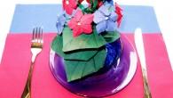 Красива украса за маса от салфетки тип Горски теменужки. Украса тип Горски теменужки е ръчно направена декорация от зелени,червени и сини салфетки. Украсата се препоръчва, като красива украса за рожден...