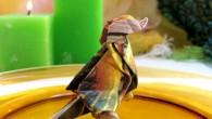 Украса за маса от оригами тип Врабче. Украсата за маса тип Врабче представлява оригами птица направена от салфетка. Украсата може да бъде направена от различни цветове салфетка: червено, синьо, жълто,...
