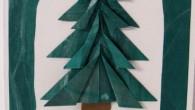 Коледна картичка с оригами елха