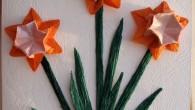 Картичка за рожден ден с оригами нарцис и уникален плик