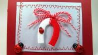 Ръчно направена картичка за Баба Марта с мартеница подкова и калинки.