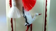 Картичка за първи март с мартеничка и оригами щъркел
