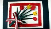 Ръчно направена картичка с Лалета