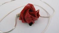 Ръчно направена оригами Роза колие