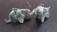 Ръчно направени оригами обеци слончета