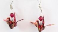 Оригами обеци с червени жерави